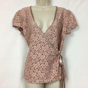 Old Navy Sheer Lace Wrap Top Large Blush Pink